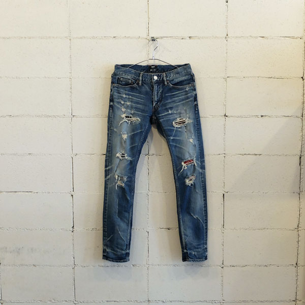 画像1: TMT STRETCH GRUNGE-REPEIR DENIM 5P TAPERED